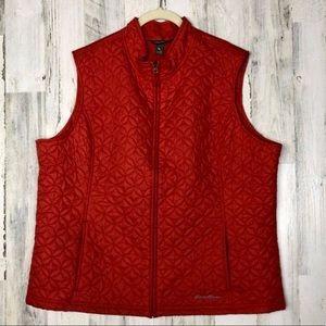 Eddie Bauer Womens Red Full Zip Quilted Vest 2XL